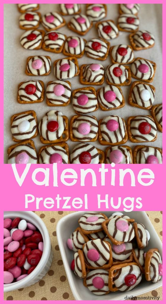Valentine Pretzel Hugs are a great treat with a little salty and sweet mix. Only 3 ingredients and only minutes to make! Perfect to pass out to friends or at the Valentine party!